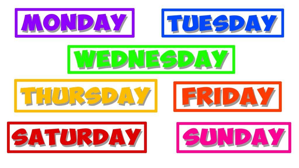 Preferência Dias da semana em inglês, significado e origem dos nomes. VN25