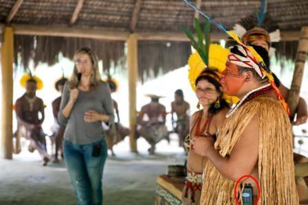 tradução simultânea em aldeia indígena